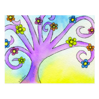 Árvore encaracolado roxa cartão postal