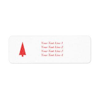Árvore festiva vermelha. Vermelho e branco. Natal Etiqueta Endereço De Retorno