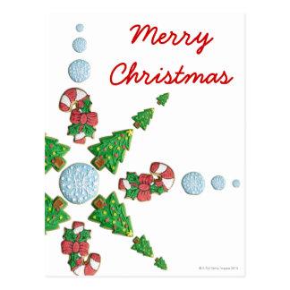 Árvore, floco de neve e floco de neve do biscoito  cartão postal