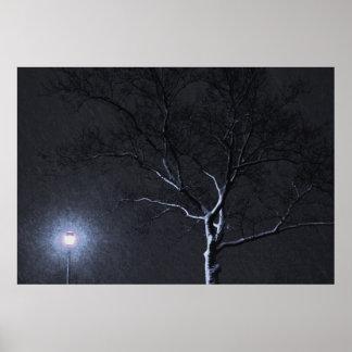 Árvore preta & branca do inverno da paisagem na poster