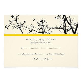 Árvore preto e branco do inverno que Wedding RSVP Convite Personalizado