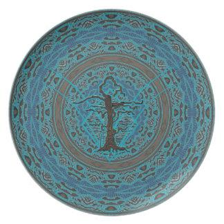 Árvore Withered velha abstrata do azul Pratos De Festas