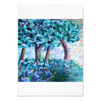 árvores azuis convite 12.7 x 17.78cm