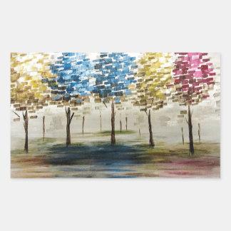 Árvores coloridas adesivo retangular