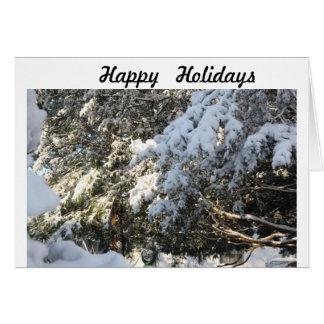 árvores com neve cartão comemorativo