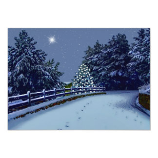 Árvores da estrada nevado e do inverno convite 12.7 x 17.78cm