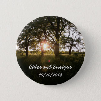 Árvores da silhueta e botão do casamento da luz bóton redondo 5.08cm