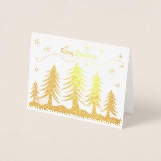 Árvores de Natal douradas Cartão Metalizado