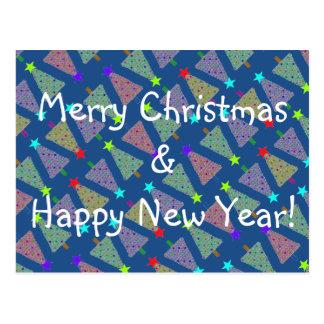 Árvores do feriado do Feliz Natal da cor da Cartão Postal