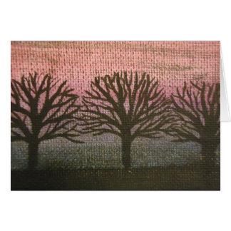 árvores do por do sol cartão comemorativo
