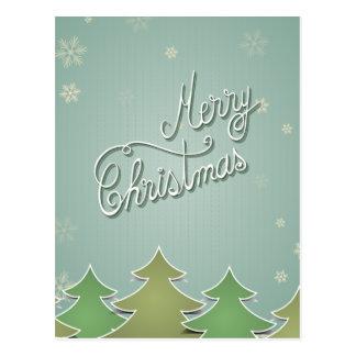 Árvores e flocos de neve modernos de Natal Cartão Postal