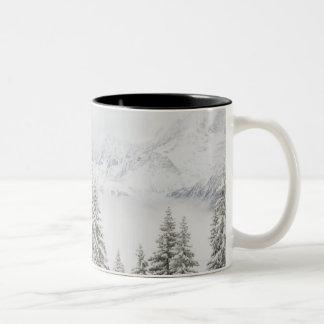 Árvores no inverno caneca dois tons