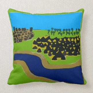 Árvores, rio, montanhas, abstrato da cidade almofada