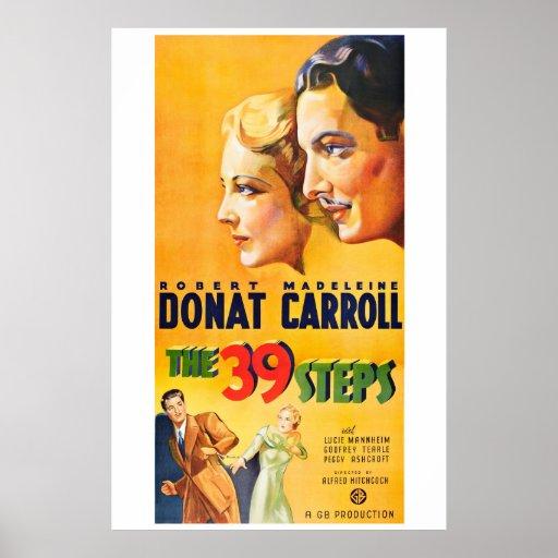 As 39 etapas - cartaz cinematográfico do vintage posteres