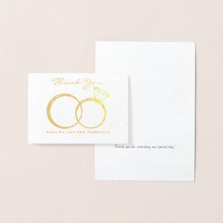 As alianças de casamento agradecem-lhe cartão metalizado