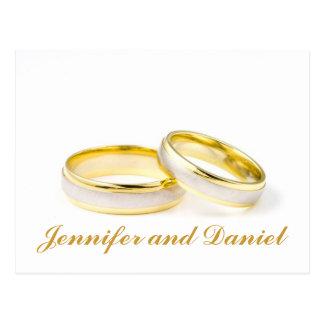 As alianças de casamento do ouro salvar os cartão  cartão postal