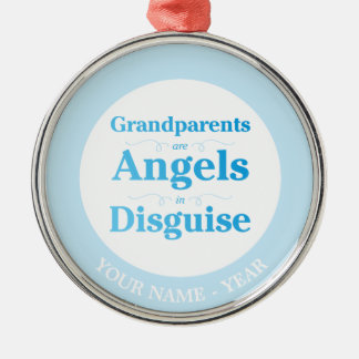 As avós são anjos no disfarce ornamento redondo cor prata