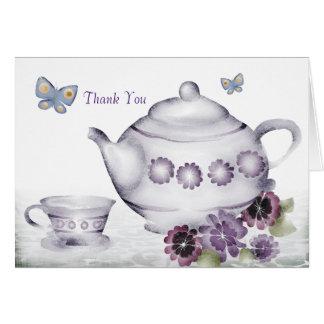 as borboletas do bule do copo de chá das violetas cartão comemorativo