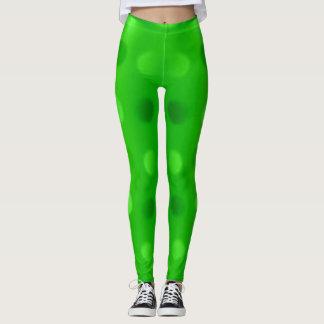 as calças da mulher dos pontos do tom do verde leggings
