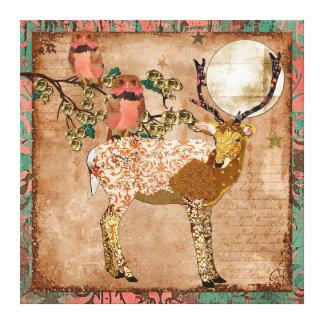 As corujas aciganadas cor-de-rosa douradas & o lua impressão em tela