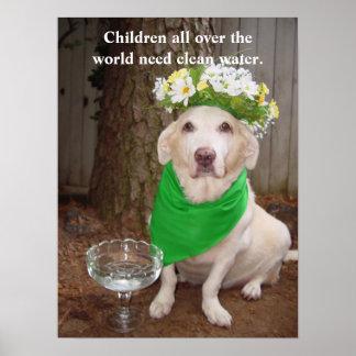 As crianças precisam pelo mundo inteiro a água lim poster