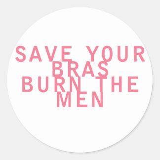 As economias do feminismo seus sutiãs queimam os adesivo