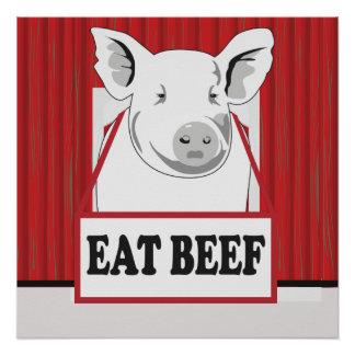 As economias engraçadas um porco comem o poster da póster