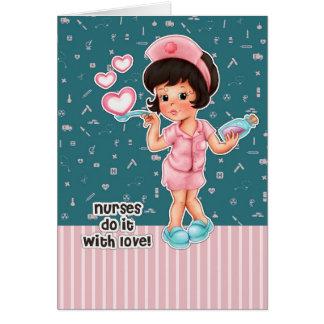 As enfermeiras fazem-no com amor. Cartões da