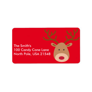 As etiquetas de endereço da rena do Natal