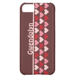 As fileiras dos corações modelam rosa vermelho o n capas para iphone5C