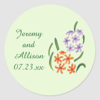 As flores alaranjadas roxas do jacinto salvar adesivo