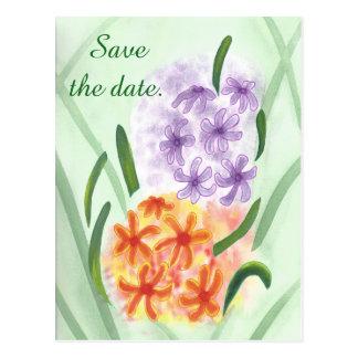 As flores alaranjadas roxas do jacinto salvar cartão postal
