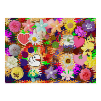 As flores, folha, Ducks corações de n Poster