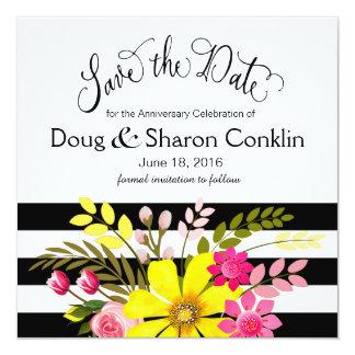 As flores listradas brancas pretas salvar o convite quadrado 13.35 x 13.35cm