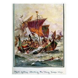 As galeras de Alfred que atacam o dragão de Viking Cartão Postal