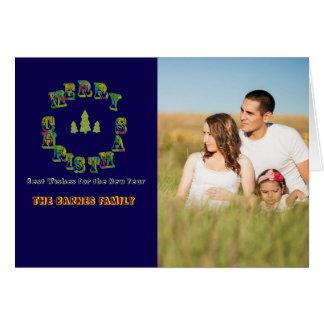 As letras de bloco festivas da safira enfeitam o cartão comemorativo