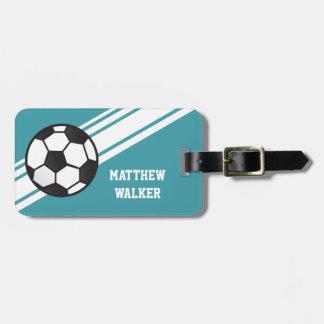 As listras azuis do futebol da cerceta personaliza etiquetas de malas de viagem