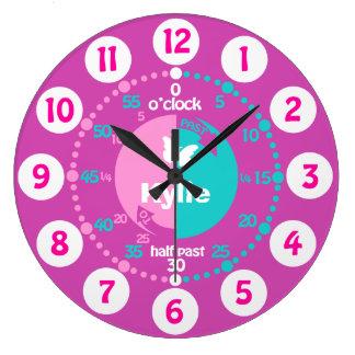 As meninas aprendem dizer a tempo o pulso de relógio grande