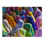 As mulheres em saris coloridos recolhem junto cartão postal