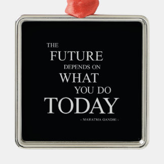 As palavras inspiradores futuras ornamento quadrado cor prata