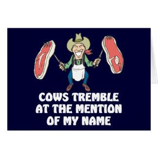 As vacas tremem cartão de nota