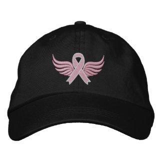 Asas da fita de câncer de mama boné bordado