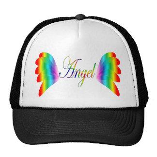 Asas do anjo do arco-íris com o anjo da palavra boné