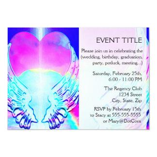 Asas do coração e do anjo do arco-íris convite personalizado