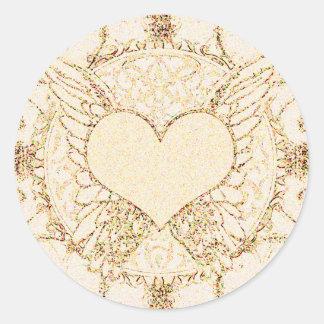 Asas e coração do anjo adesivos em formato redondos