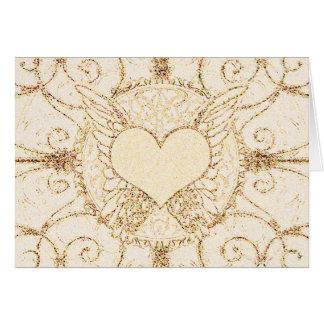 Asas e coração do anjo cartão comemorativo