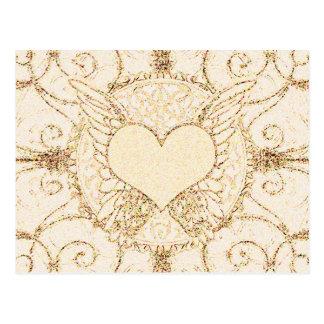 Asas e coração do anjo cartão postal
