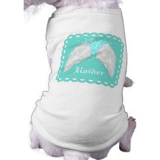 Asas personalizadas do anjo & corações dispersados camisa sem mangas para cachorro