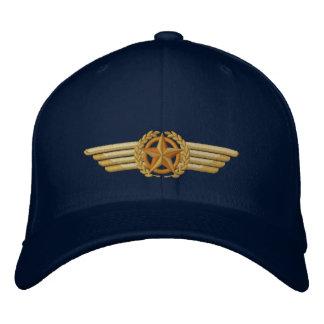 Asas piloto bordadas aviação dos louros da estrela boné bordado