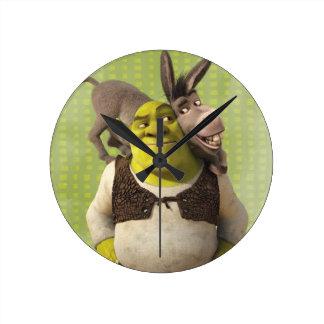 Asno e Shrek Relógio Para Parede